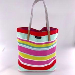 Kate Spade Summer Striped Canvas tote beach bag